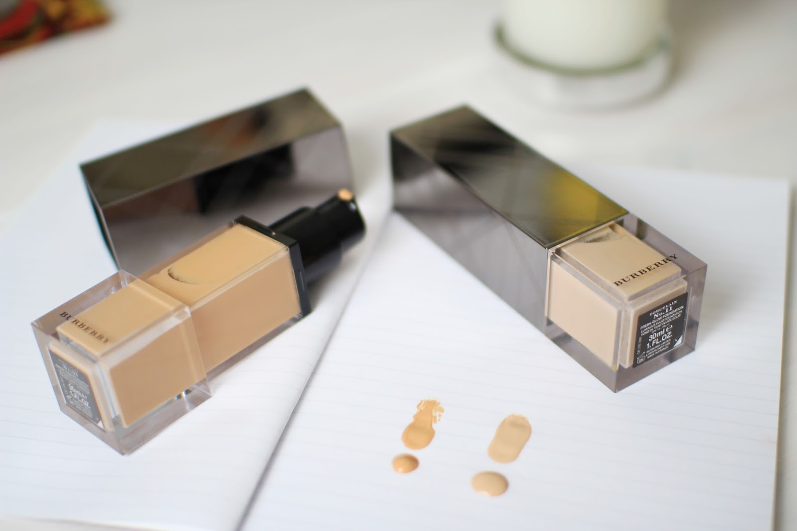 Burberry Fresh Glow Foundation in 11 and 31 Porcelain and Rosy Nude