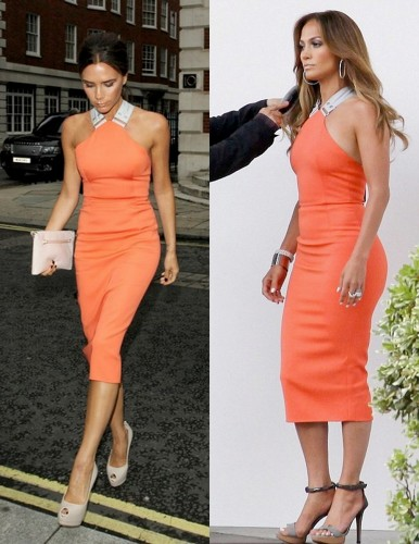 jennifer lopez victoria beckham orange tangerine spring summer 2012 dress