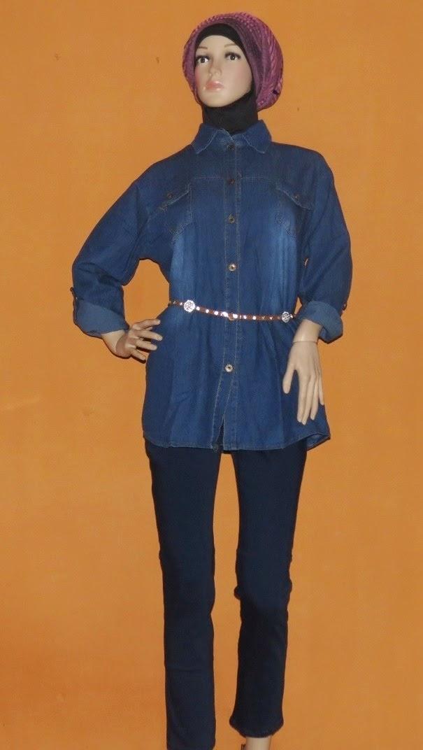 Blouse Jeans Untuk Wanita Gemuk  AJ941
