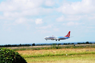 Turkish Airlines from Istanbul arrives in Kilimanjaro, Tanzania enroute to Mombasa, Kenya.