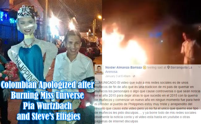 Colombian Apologized after Burning Miss Universe Pia Wurtzbach and Steve's Effigies