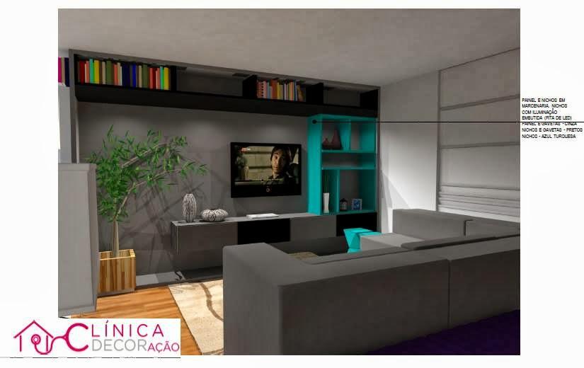 decoracao de sala jovem:Clínica DECORação: Sala de estar, jantar e hall do jovem casal