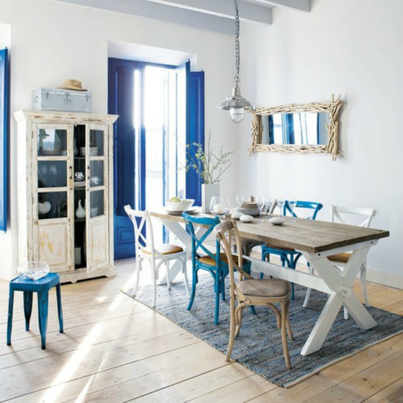 white and blue coastal dining room