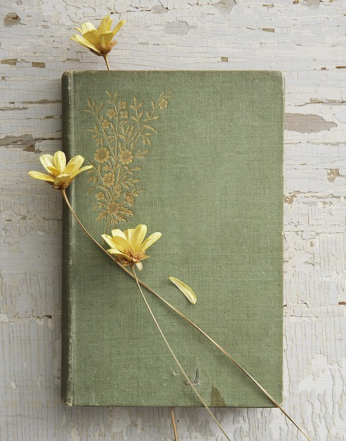 vintage book with yellow flowers