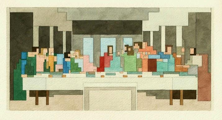 Adam Lister, acuarelas 8 bits, La última Cena