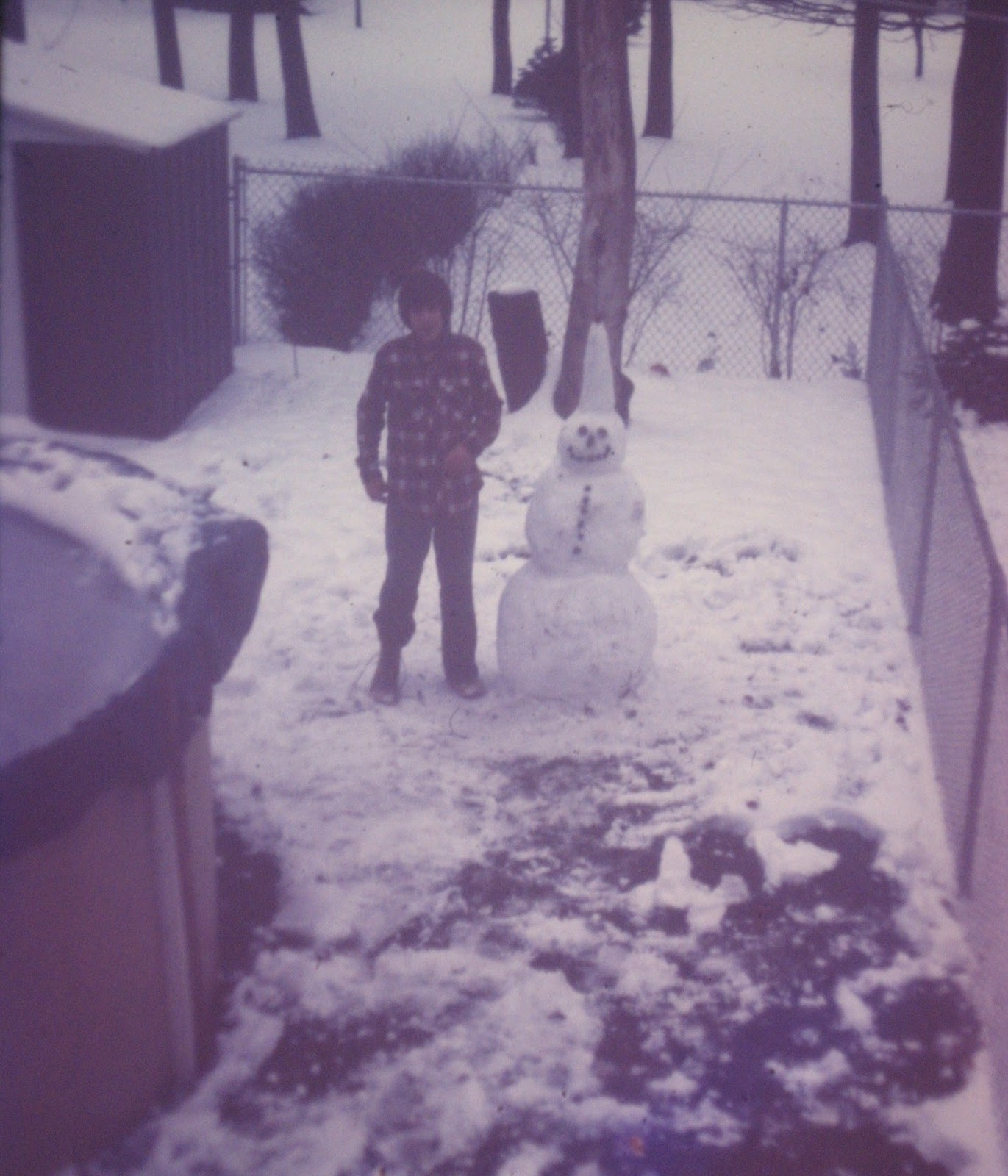 Tommy Mondello and his snowman