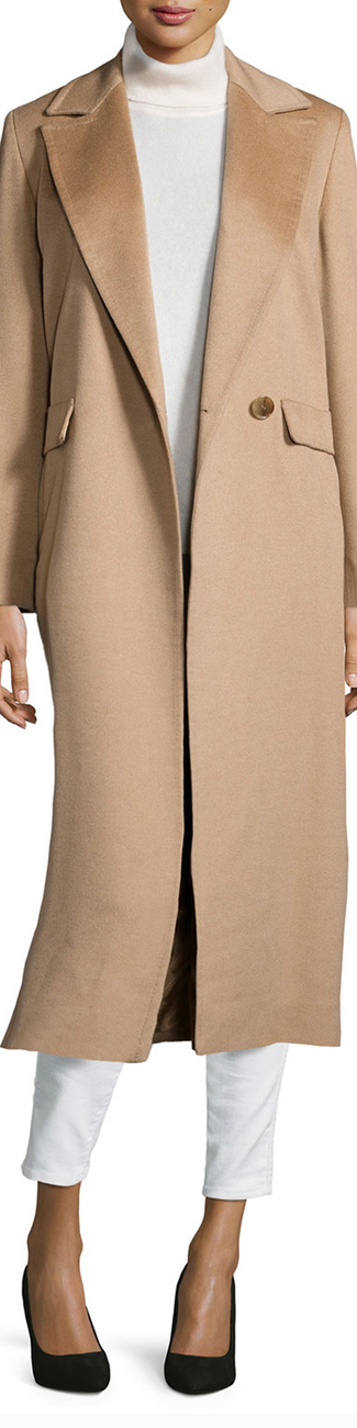 Sofia Cashmere  Long Wrap Camel-Hair Coat in Camel