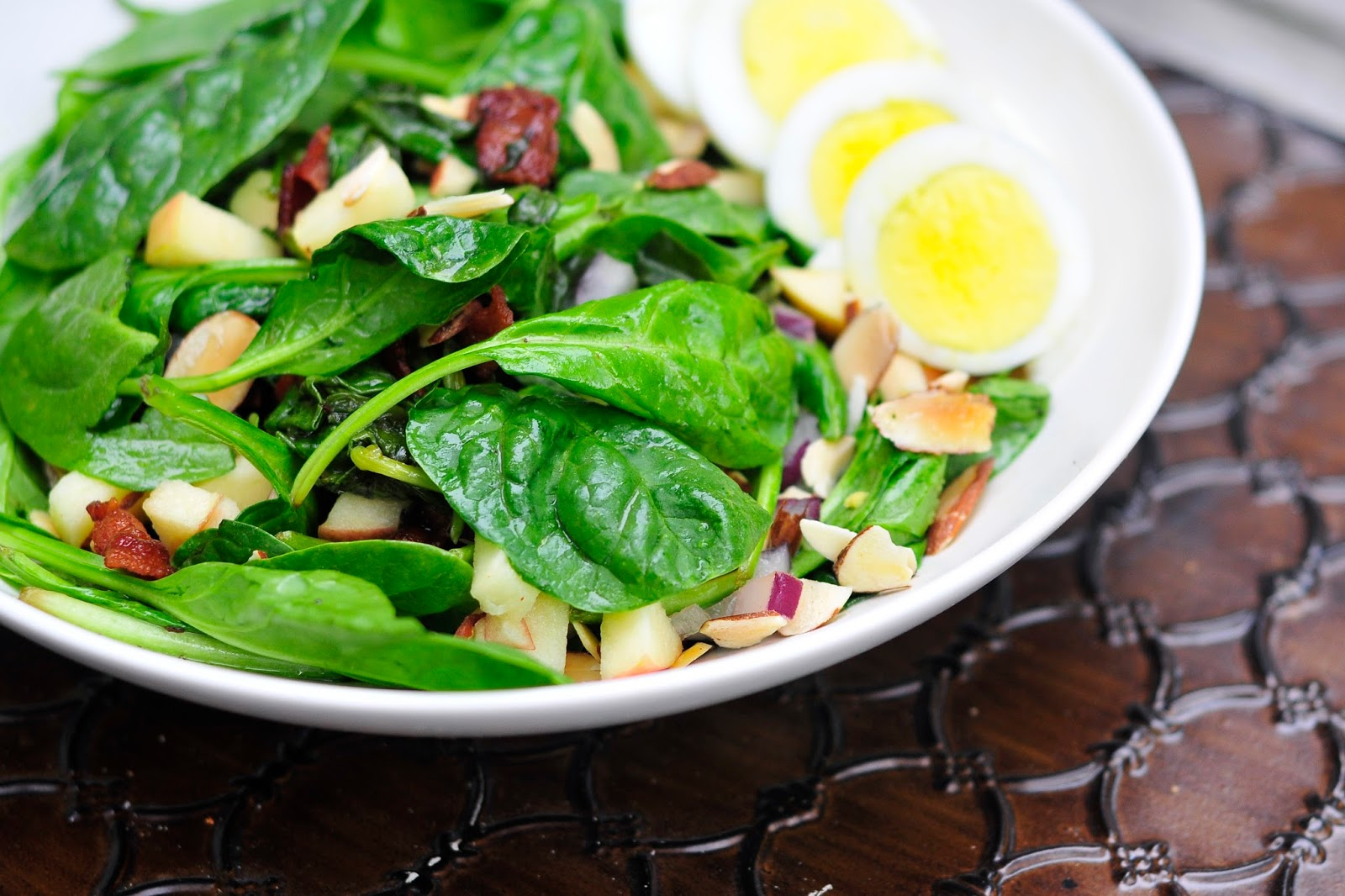 Simply Gourmet: Spinach Salad with Warm Bacon Dressing