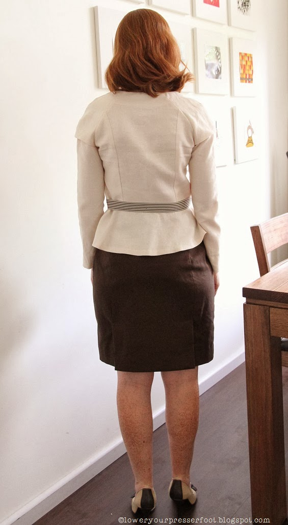 brown pencil skirt and cream linen jacket