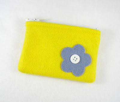 Yellow and Blue Flower Tiny Treasures Mini Felt Zipper Pouch