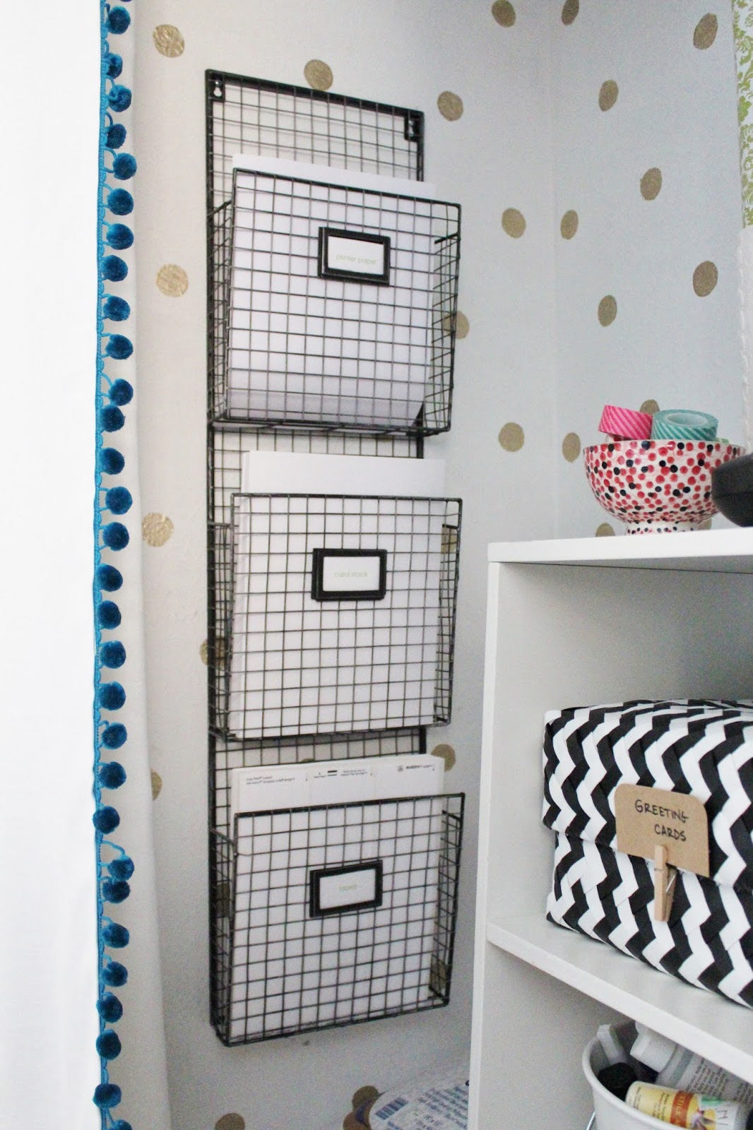 Office shelves wire baskets : Office paper storage organization