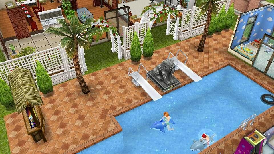 los sims freeplay fan: une piscinas y crea diseÑos