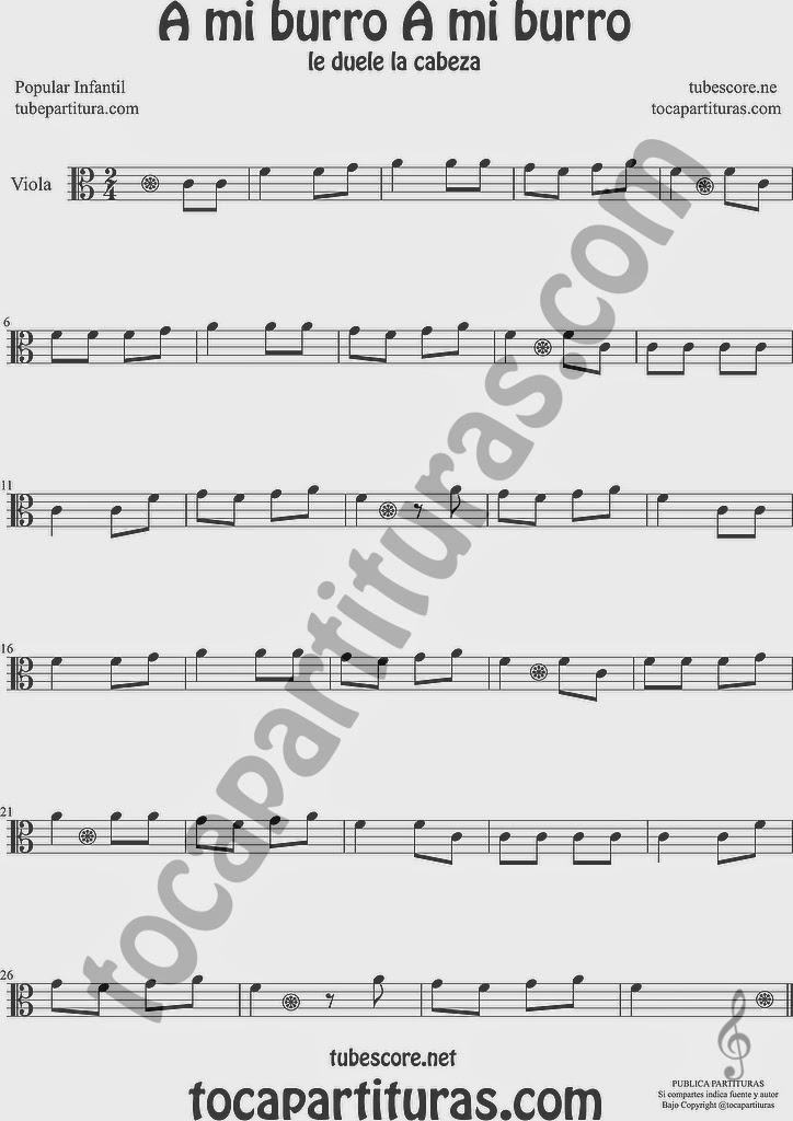 A mi Burro A mi Burro Partitura de Viola Sheet Music for Viola Music Score