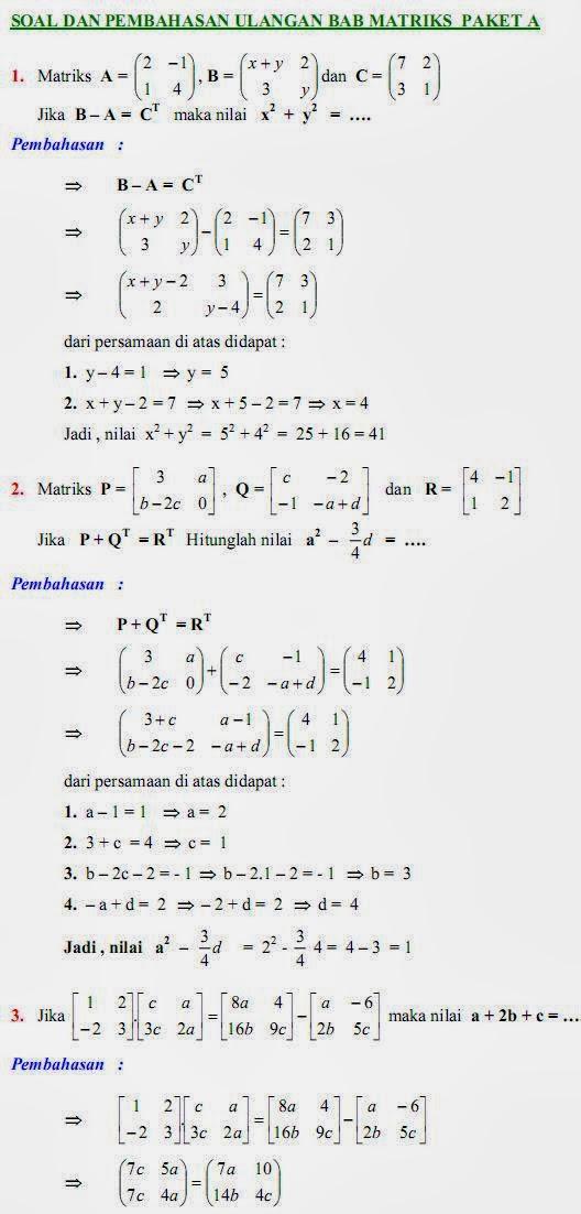 Matematika Di Sma Soal Dan Pembahasan Ulangan Bab Matriks Paket A