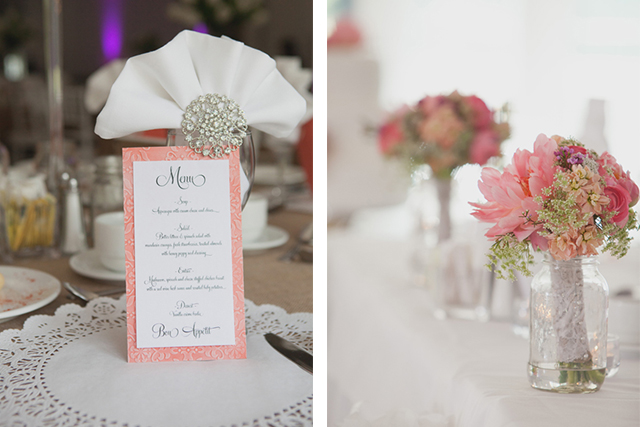 Coral and Purple wedding details.