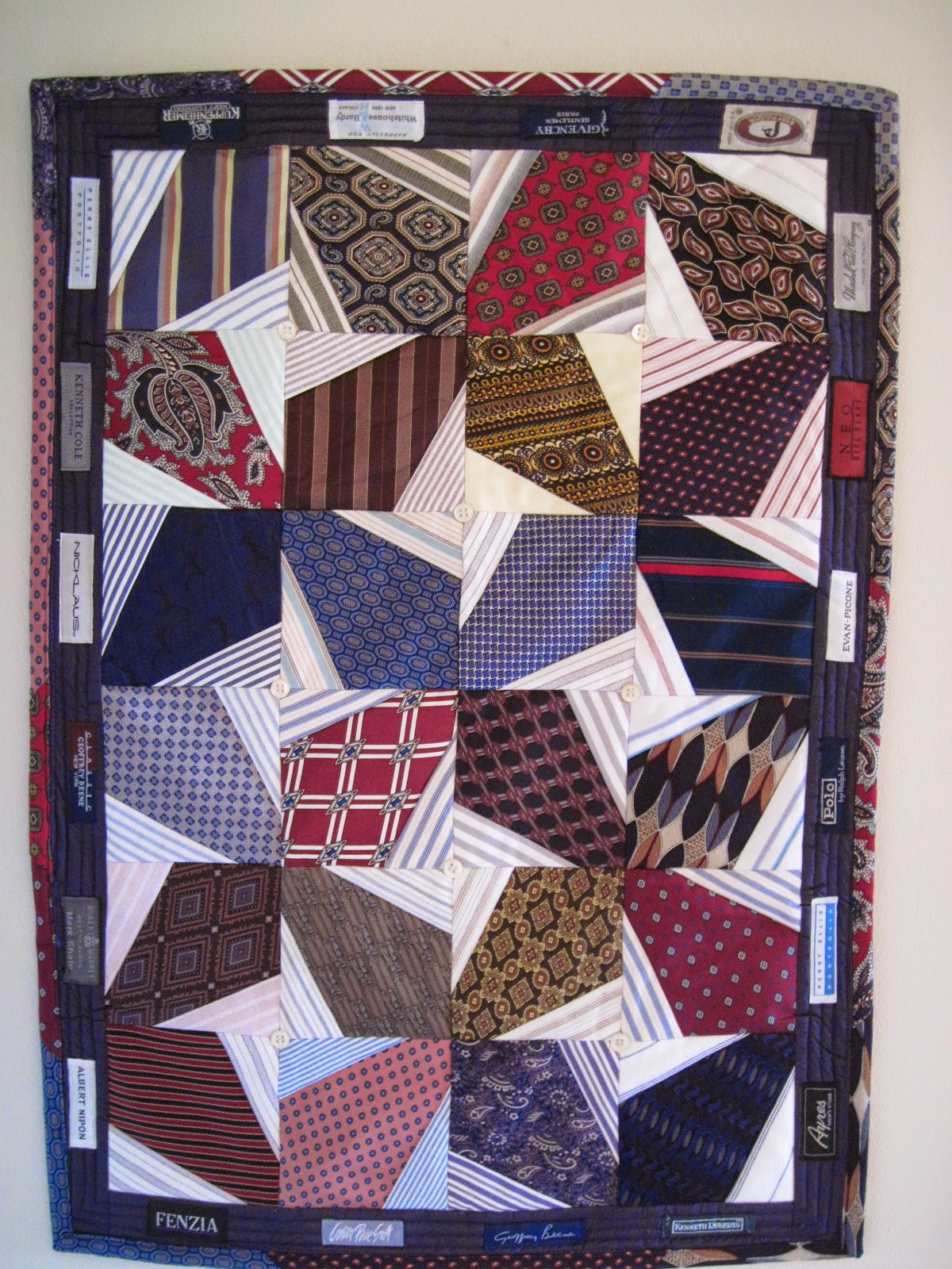 Quilt Inspiration: Necktie quilts for Dad : tied quilt patterns - Adamdwight.com