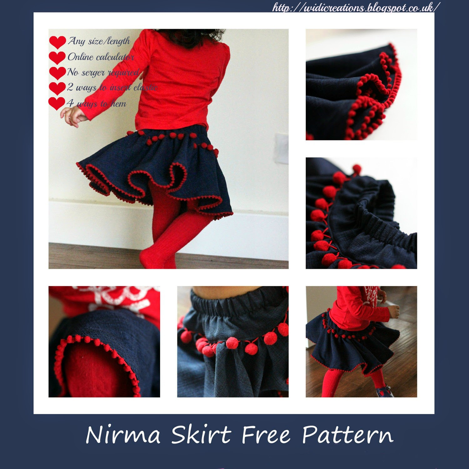 Nirma twirly skirt epattern with calculator and step by step instructions