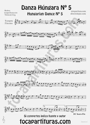 Tubepartitura Danza Húngara nº 5 Partitura de Trompeta y Fliscorno de Johannes Brahms
