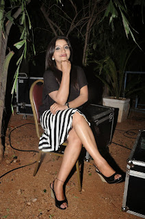 Padmini in a Zebra Print Skirt and Tight Black Top at Kiraak Audio Launch Function
