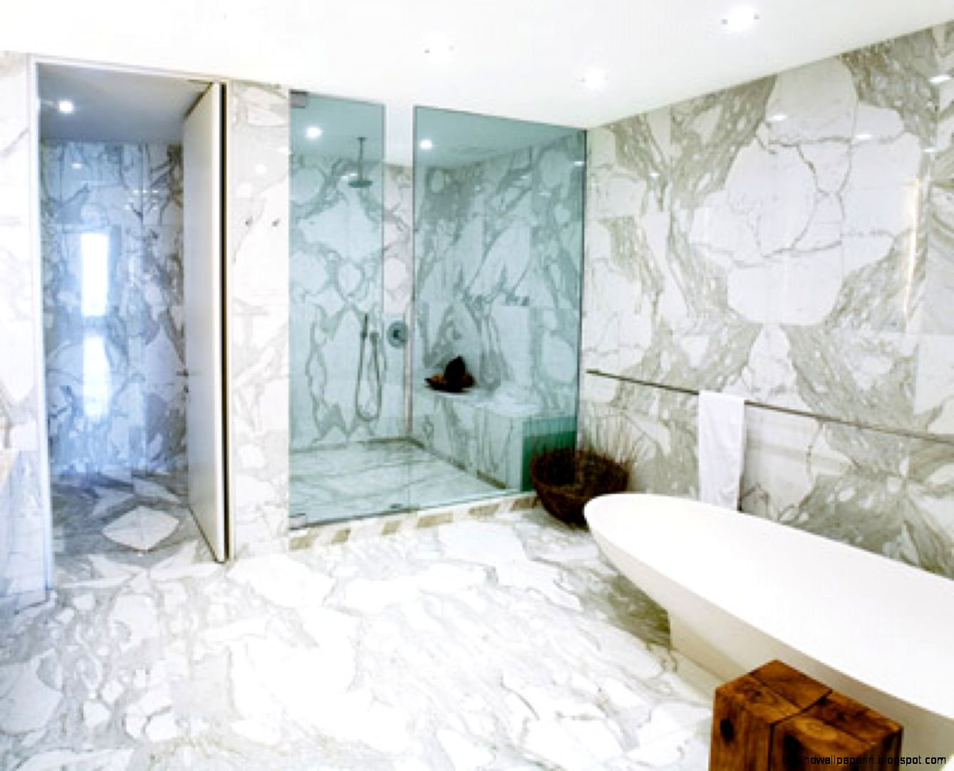 White Marble Bathroom Design Wallpaper | Best HD Wallpapers