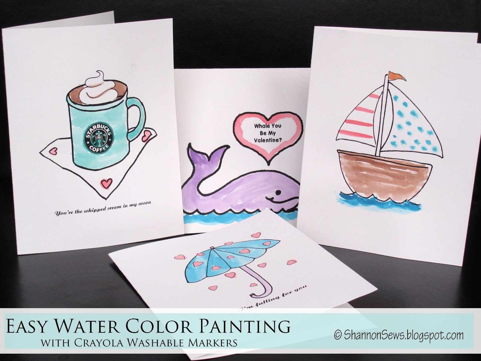 Watercolor Birthday Cards Tutorial ~ Sewing tutorials crafts diy handmade shannon sews for