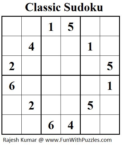 Classic Sudoku (Mini Sudoku Series #38)