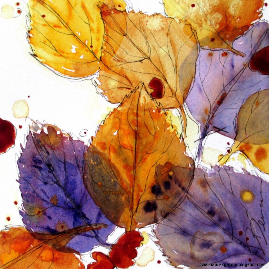 Autumn Leaves Watercolor Sketch by dawndermanart on Etsy