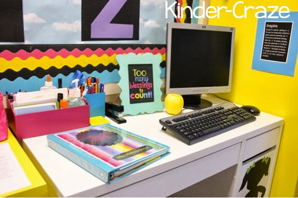 adorable teacher desk and rainbow accessories