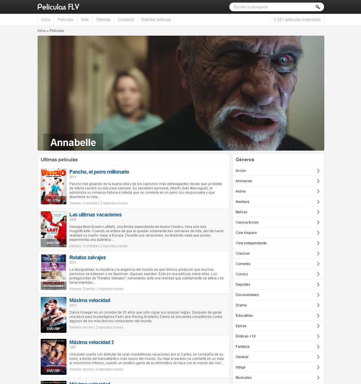 Captura de pantalla de PeliculasFLV.info