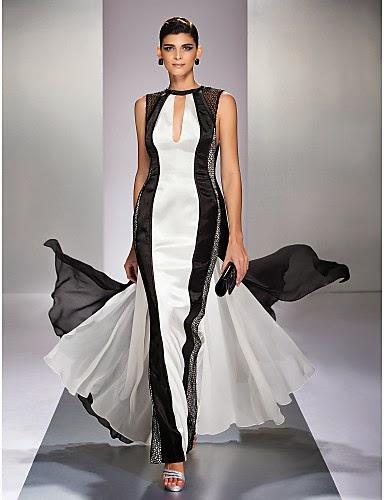 Vestido de noche de Georgette blanco y negro con cola