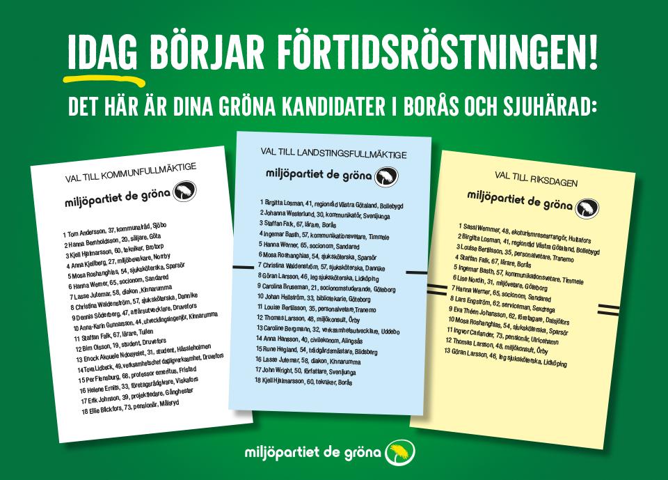 Här är dina gröna kandidater i Borås och Sjuhärad