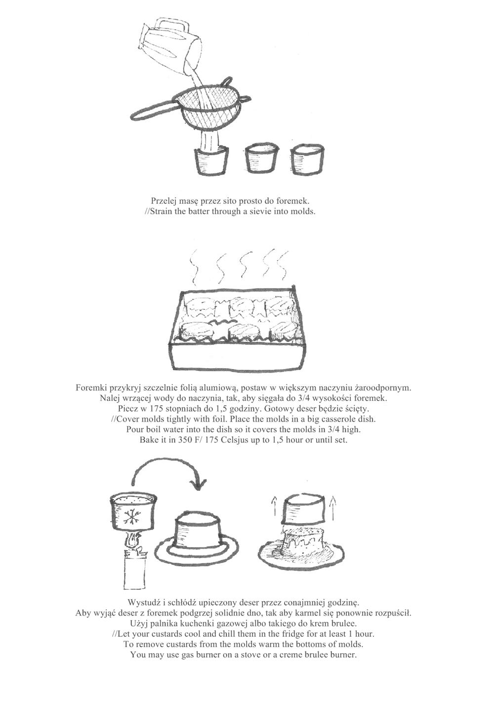 caramel custard step by step drawing instruction creme caramel rysunkowa instrukcja krok po kroku