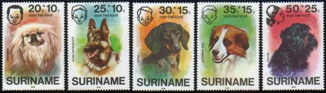 1976年スリナム共和国 ペキニーズ ジャーマン・シェパード ダックスフンド スリナム・ドッグ ブービエ・デ・フランダースの切手