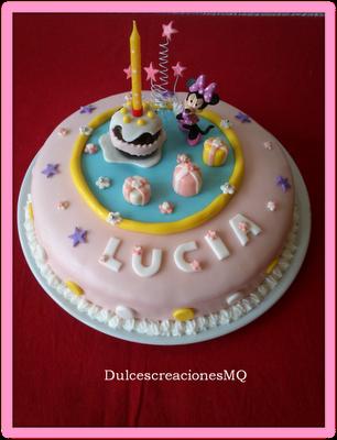 Pastel Minnie Fondant Bizcocho Chocolate Frambuesa Tarta Niña Cumpleaños