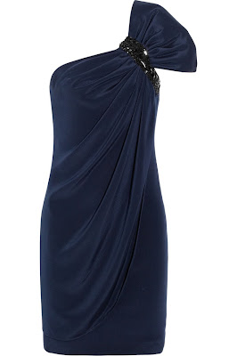 Marchesa navy blue draped dress