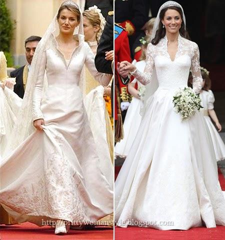 Сватбените рокли на Летисия Ортис и Кейт Мидълтън