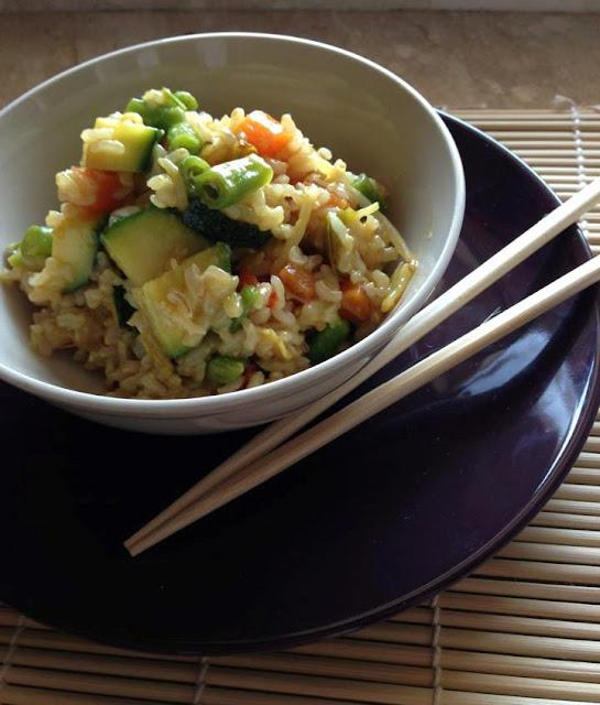 riso integrale con verdure al curry