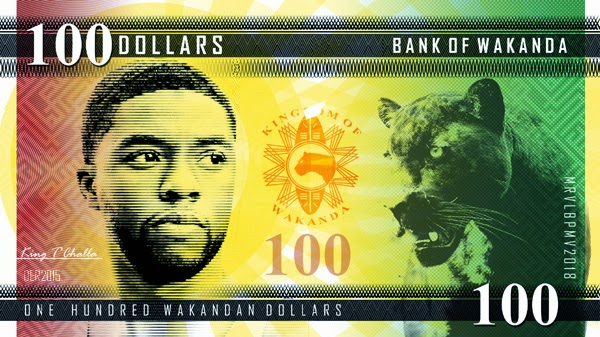 100 Wakandan Dollar Bill featuring Black Panther, King T'Challa played by Chadwick Boseman in the Marvel Black Panther Movie