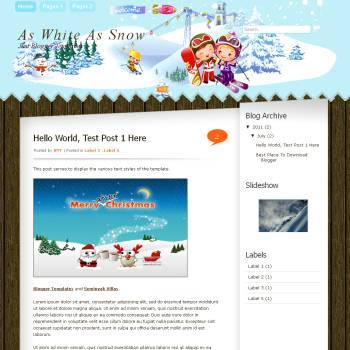 As White As Snow Blogger Template. blogger template with blue color background