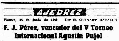 Cabecera del artículo de Mundo Deportivo sobre el final del Torneo Internacional de Ajedrez Tarragona 1960