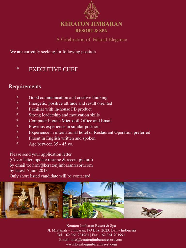 Executive Chef at Keraton Jimbaran Resort & Spa ~ HHRMA