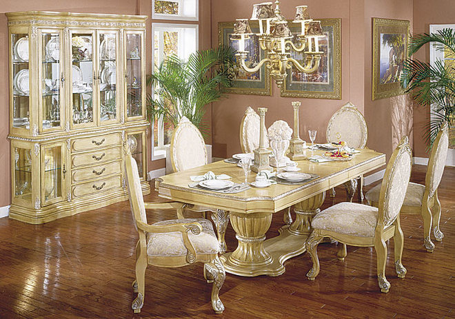 antique furniture dining room set white elegant classic design ideas