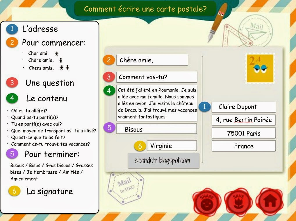 El Conde. fr: Comment écrire une carte postale