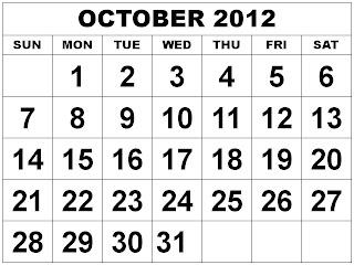 printable-calendar october 2012