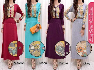 Dress Lebaran Chic Dress Woman Long Dress Kombinasi