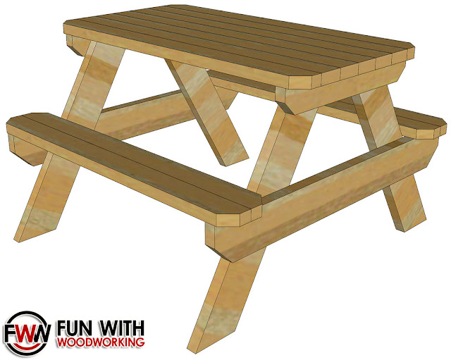 Fun With Woodworking: Free 4 ft picnic table plan posted!