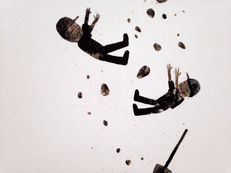two illustrated me falling in Sam and Dave dig a hole kids book