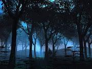 Tras la espesa noche me encuentro. entre una selva de troncos castaños (forest by starskq)