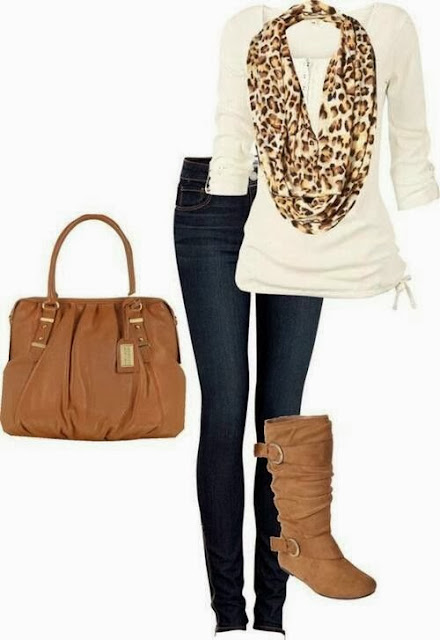 Cheetah scarf, blouse, jeans and brown handbag for fall