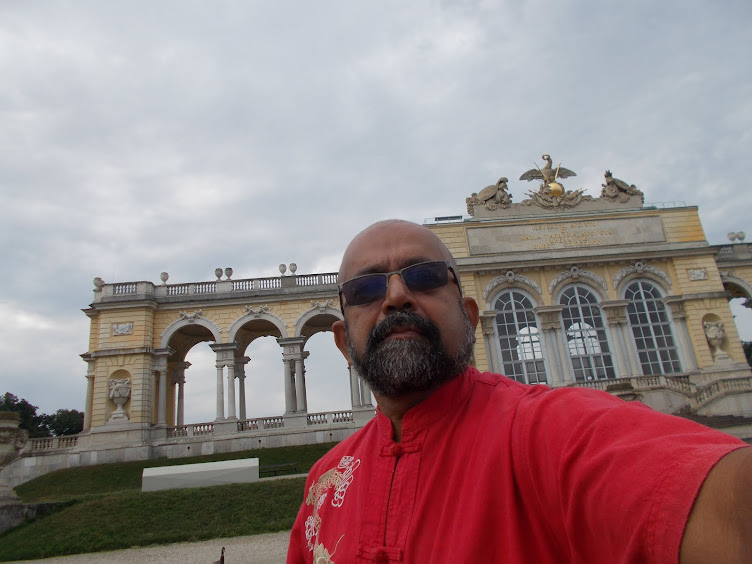 """""""SELFIE"""" with """"GLORIETTE"""" on Schonbrunn Hill in the background."""